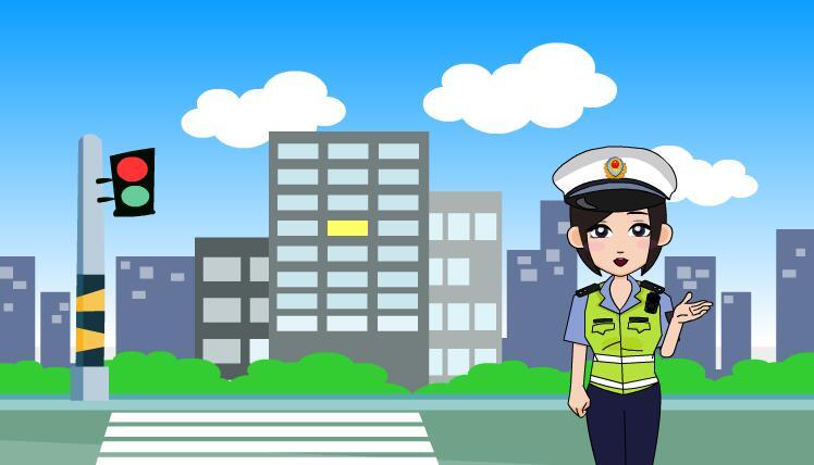 女交警讲解道路交通安全